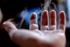 in the palm of my hand (A Deeper Blue) Tags: winter mist cold wet water fog focus dof hand steam shallow vapor