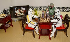 Death Star Challenge:  Checkers anyone? (ChicaD58) Tags: plant table tv chairs stormtroopers hamburgers bobafett checkers sodas picnik havingfun stb clonetroopers starwarsactionfigures explored stormtrooperlegionofmerit stormtrooperbruce tk423