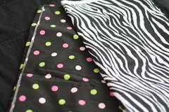 zebra/pink green dot