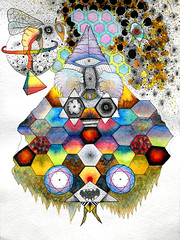 Telling The Bees (minotaurelab) Tags: art illustration ink watercolor paper rainbow drawing geometry dennis artforsale minotauro pomales