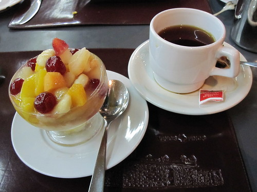 Fruit salad and tea