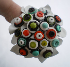 vintage button bouquet (lilfishstudios) Tags: orange brown white vintage aqua recycled handmade chartreuse craft retro bouquet reclaimed vintagebuttons lilfishstudios leatherleaves