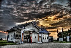Old gas station along route 66 (Mister Joe) Tags: old blue sunset red sky sun station set clouds illinois route66 nikon joe 66 gas gasstation pump route gasoline hdr highdynamicrange oldgasstation gasolinepump d80