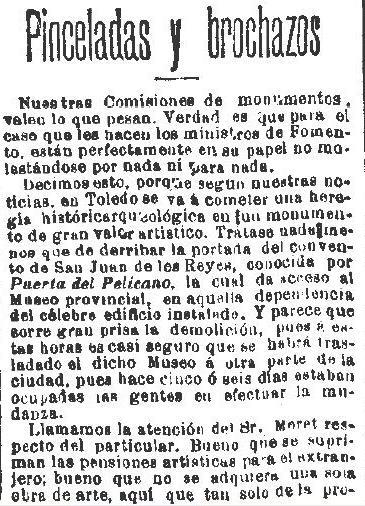 Polémica por el posible derribo de la Puerta del Pelícano de San Juan de los Reyes. Diario El Liberal de 28 de enero de 1893