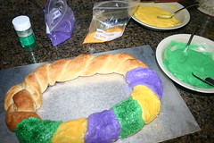 Traditional King Cake (The Cake Batter) Tags: new party baby lake color green cake bread gold la orleans louisiana king purple mask cinnamon fat traditional charles parade ring tuesday icing gras tri mardi mascarade braid 2010 lent doubloons