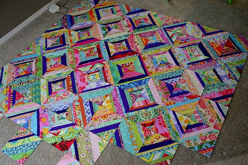 Carnival String Quilt - 70 of 90 blocks done!