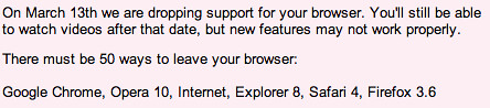 YouTube Dropping Older Browsers