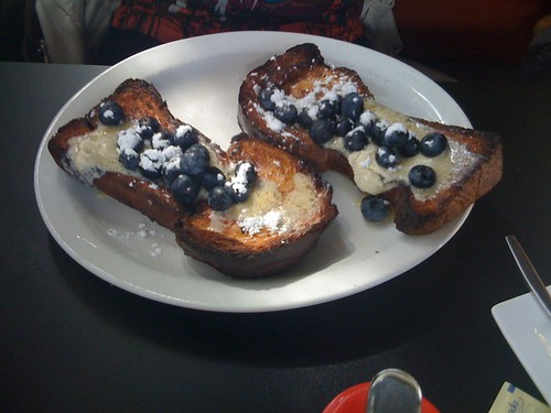 Challah french toast + blueberries