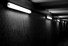 What does it mean ? (Chinonex) Tags: street light bw france lamp station fog night dark naked nude de lights nikon long nu railway tunnel nb iso sombre 400 lumiere 800 nuit loin brouillard chemin chartres fer nue d60 symtrie lenght briquette 28000 hallogene