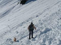 Barb and Gus crossing avi debris heading out toward Colman Pinnacle