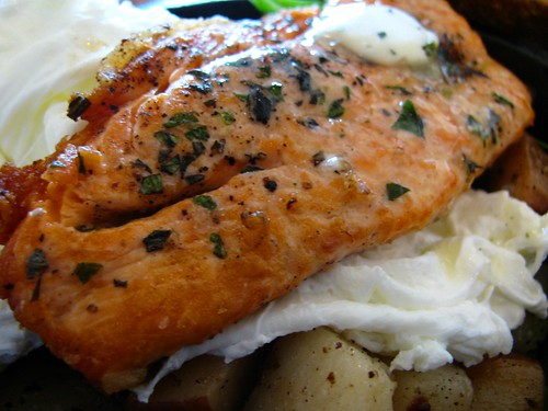 Pan Fried Trout Rosemary Hash with Soft Poached Eggs @ Big Fish