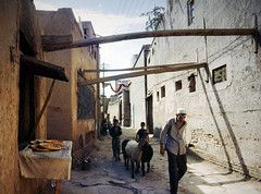 kashgar old town - time stands till (Xuan Che) Tags: 2005 china street city travel summer portrait west history film architecture ancient alley slide august scan oasis m42 xinjiang silkroad kashgar uyghur agfa centralasia mir islamic eurasia rsxii voigtlanderbessaflex 3520mm