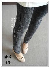 270(( PINK-YA )) * C660031 * 韓組 : 彈力織帶腰部極度層次刷色雪花褲black