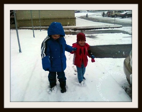 Brothers walking in the snow