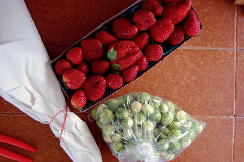 strawberries, flowers, sprouts