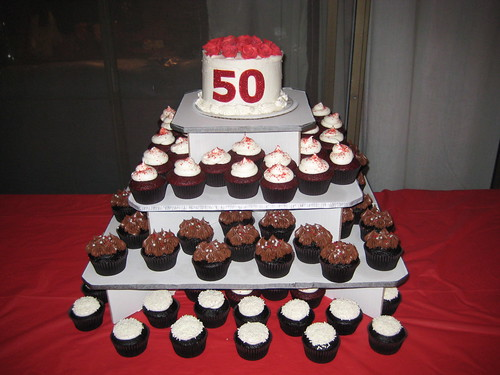 50th Birthday Surprise Party cupcake tower