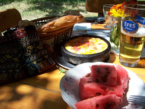 Local omlet and beer in Ihlara valley
