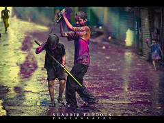 Festival of Colors (Shabbir Ferdous) Tags: blue boy red portrait people colors childhood festival kids religious colours photographer child shot joy dhaka hindu holi bangladesh bangladeshi canoneos5dmarkii canonef70200mm28lisusm shabbirferdous oldtowndhaka shakharibazaar wwwshabbirferdouscom shabbirferdouscom
