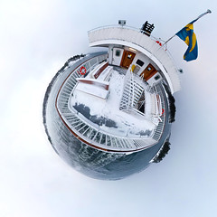 The boat Dalar as a planet (provhytt) Tags: winter panorama snow water nikon stockholm panoramic fisheye planet 360x180 archipelago dalar ptgui mja smallplanet nikon105mmfisheye d700 polarplanet ptguipro panogio sollenkroka