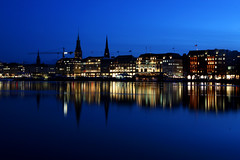 blue hour @ Alster lake (Ghadeer Q) Tags: longexposure nightphotography travel winter lake reflection water canon germany hamburg bluehour alster afterdark slowshutterspeed northerngermany canon1740 ghadeerq