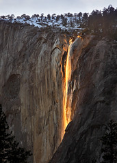 Horsetail Falls (Rob Kroenert) Tags: california park ca sunset waterfall el falls national valley yosemite yosemitenationalpark february elcapitan effect horsetail capitan horsetailfalls firefall