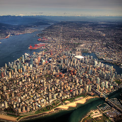 Lines of Development (ecstaticist) Tags: city urban mountain canada vancouver port harbor pacific harbour low columbia aerial line helicopter planning valley commute british fraser rim helijet arcgitecture