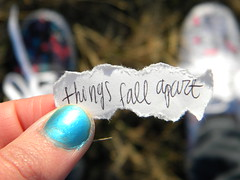 if i don't let myself be happy now then when? (emily cain) Tags: thingsfallapart things fall apart words writing handwriting paper cursive print ripped emily focus dof bokeh grass shoes nikon coolpix macro