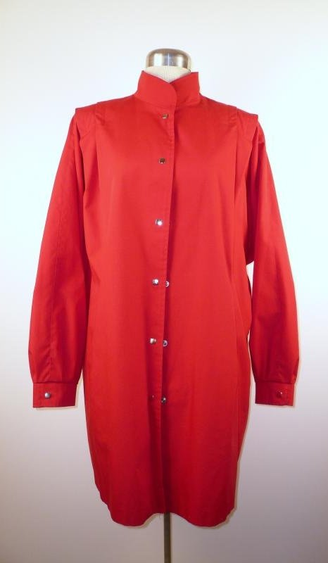 Front - Red Spring Batwing Coat with Snaps
