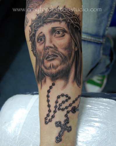 rosary bead tattoos. Jesus and Rosary Beads Tattoo