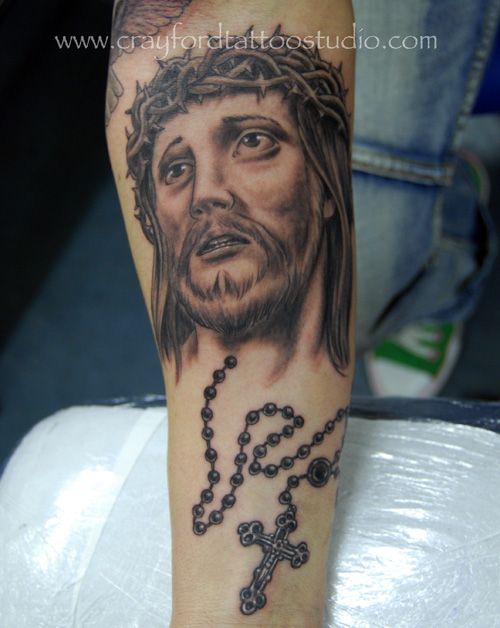 Jesus and Rosary Beads Tattoo. go back