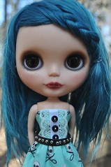 Seriously How could someone NOT love this doll? (Lawdeda ♡) Tags: by dress vampire teal adorable mohair blythe custom ebl reroot moofala cocomicchi candyjunky