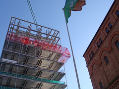 Old facing New (Antropoturista) Tags: uk england architecture contrast liverpool waterfront flag oldnew