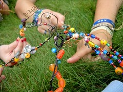 Yads (janiegun619) Tags: summer color green glass grass beads focus hand ring plastic pa 2009 eastcoast yad encampment starlight usy hagalil chippednails yads paintednailed