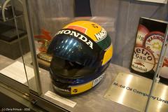 Ayrton Sennas racing helmet (Trance-Elbow) Tags: museum helmet surrey grandprix weybridge brooklands ayrton sennas englanduk canoneos400d