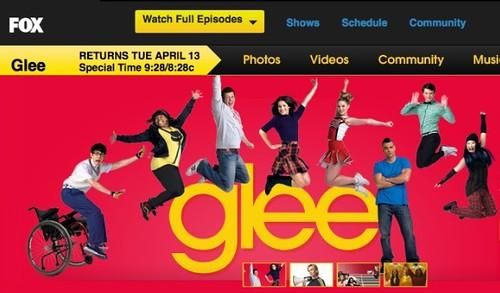 Glee website header with same images, slightly rearranged