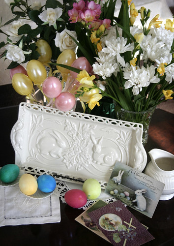 Easter Plate and Vintage Post Cards