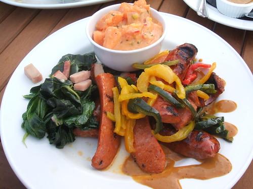 Sausage, greens, sweet potato salad