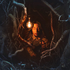 searching rooms (brookeshaden) Tags: blue light red tree eye girl warm branches cave sight panslabyrinth brookeshaden