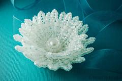 beaded lotus flower - gold-lined white (heartinhawaii) Tags: white whiteflower lotus handmade bracelet bridal corsage beaded headband lotusflower beadedlotus