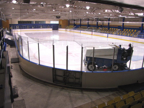 Ice machine prepares Father Bauer Arena ice rink for use in an amateur hockey game