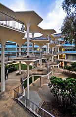 Covered Walkway (Chimay Bleue) Tags: california bridge modern university sandiego halls modernism walkway hexagon mayer passage bonner brutalism brutalist ucsd midcentury breezeway passerelle