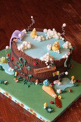 Wooden barrel tub cake (Andrea's SweetCakes) Tags: flowers bird soap vines snail bubbles towel shampoo ladybug toadstools rubberduckies babyshowercake woodenbarreltub