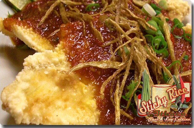 Chili and Garlic sauce over Sole Fillet (Pla Lad Prik) (click on link below for pricing) by Sticky Rice Online