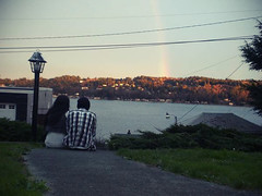 the view (Christian.Lynn) Tags: ocean boy love lamp girl rainbow couple view post scene sidewalk indie