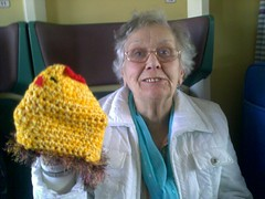 Elizabeth with the giant knitted chicken!