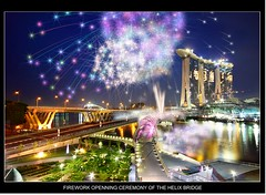 Singapore Marina Bay Sands Open Ceremony  (Kenny Teo (zoompict)) Tags: bridge visit firework double helix singaporeriver marinabay helixbridge fireworkfinale marinabaysands tourismattraction singaporemarinabay doublehelixbridge doublehelixbridgesingaporemarinabay tourismattractionplace visitmust