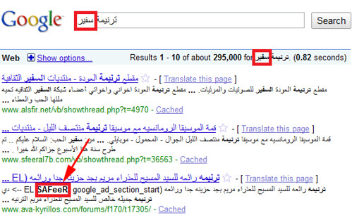 transliterated google search results