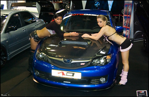 Car show sexy girls & SUBARU Impreza