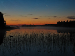 Early morning (Artturi55) Tags: morning moon lake sunrise finland countryside