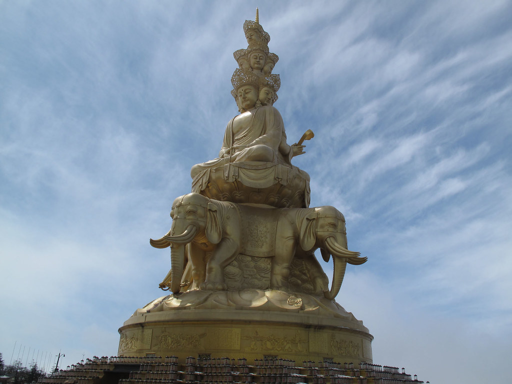 Golden statue at Emeishan summit